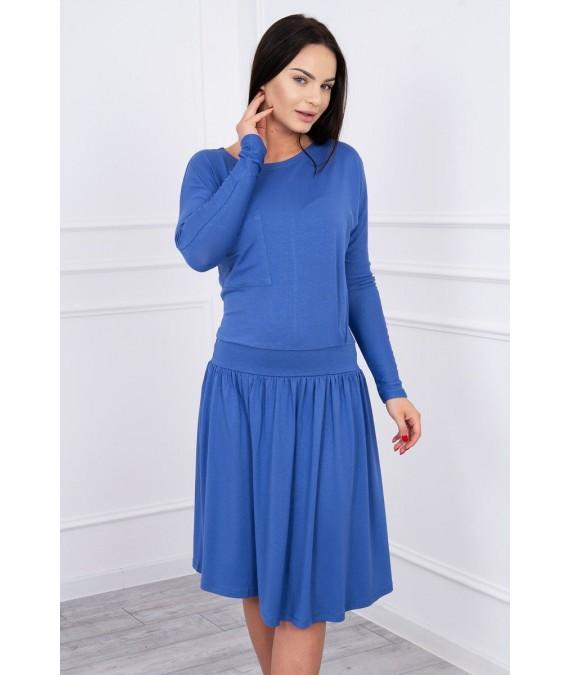 Suknelė su platėjančiu sijonu apačioje ir kišene (Mėlyna)