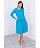 Suknelė su platėjančiu sijonu apačioje ir kišene (Turkio spalva)