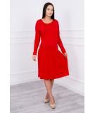 Suknelė su platėjančiu sijonu bottom ir kišene (Raudona)