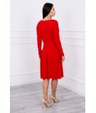 Suknelė su platėjančiu sijonu apačioje ir kišene (Raudona)