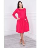 Suknelė su platėjančiu sijonu apačioje ir kišene (Fuksijos)