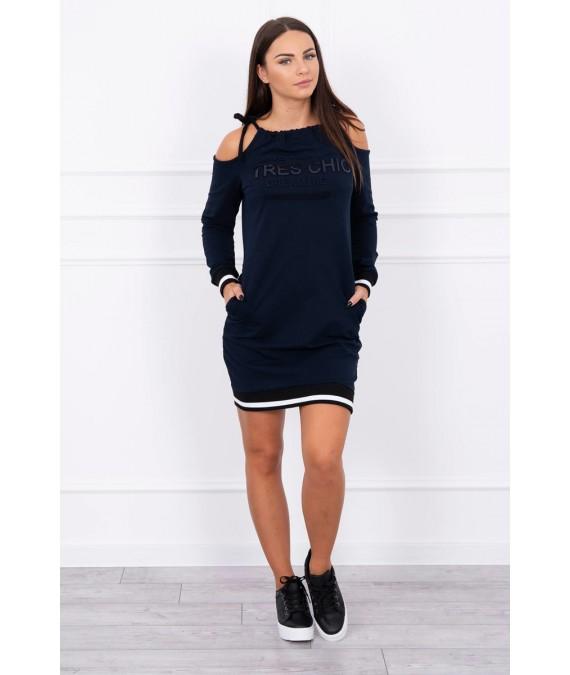Suknelė su užrašu Tres Chic (Tamsiai mėlyna)