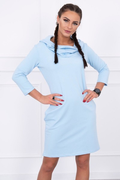 Suknelė su gobtuvu ir kišenėmis (Žydra)