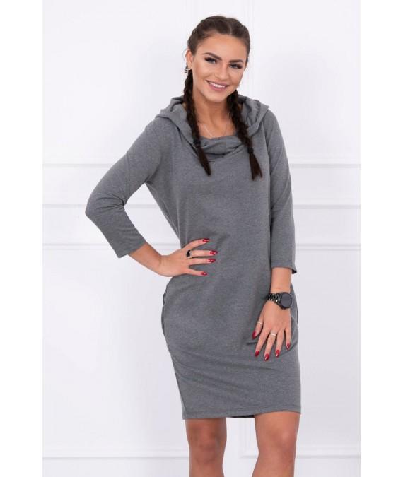 Suknelė su gobtuvu ir kišenėmis (Grafito) (Švelnios spalvos)