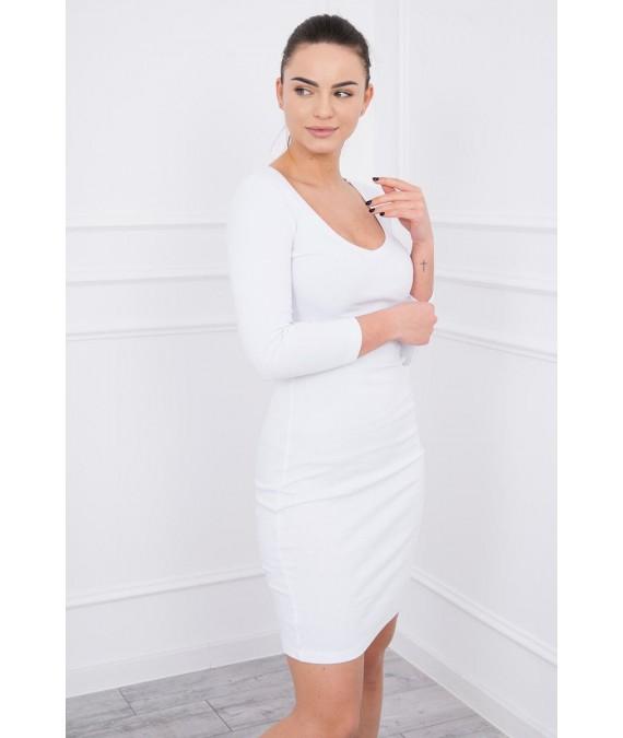 Aptempta suknelė su iškirpte (Balta)