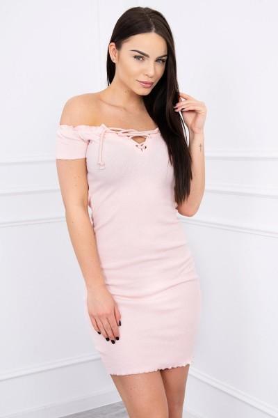 Aptempta suknelė su užtraukiama iškirpte (Šviesiai) (Rožinė)