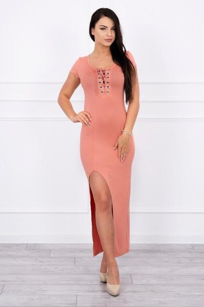 Suknelė su asimetrišku iškirpimu (Abrikoso spalva)