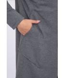 Kardiganas su gobtuvu (Grafito) (Švelnios spalvos)