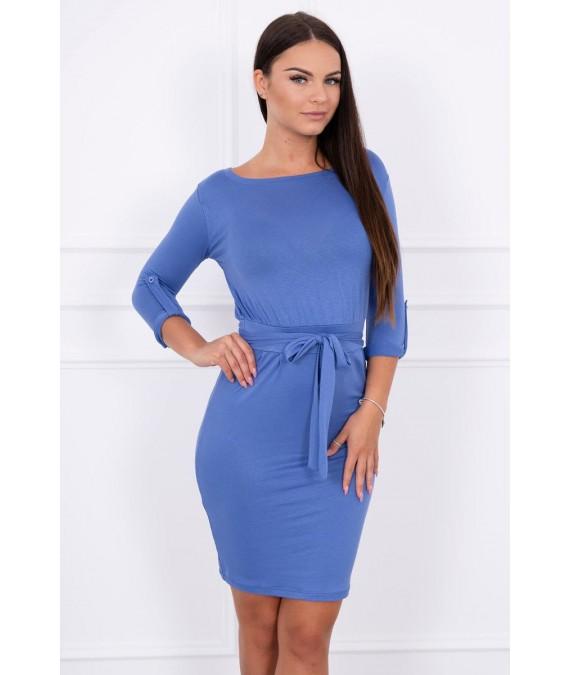 Suknelė su sukamomis rankovėmis (Mėlyna)