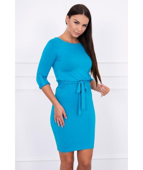 Suknelė su sukamomis rankovėmis (Turkio spalva)