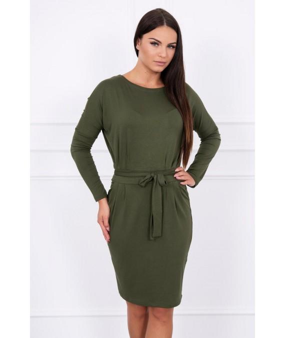 Suknelė su surišamu juosmeniu (Khaki)