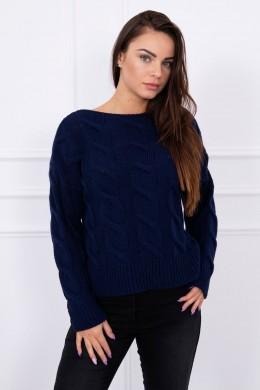 Megztinis su ilgesne nugara (Tamsiai mėlyna)