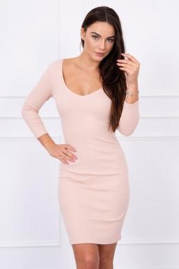 Aptempta suknelė su iškirpte (Šviesiai) (Smėlio spalva)