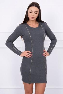 Suknelė su ilgais užtrauktukais (Grafito)