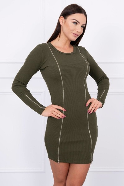 Suknelė su ilgais užtrauktukais (Khaki)