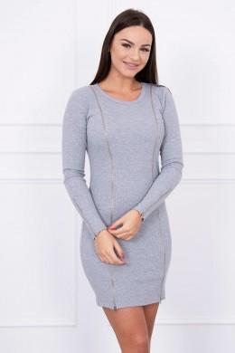 Suknelė su ilgais užtrauktukais (Pilka)