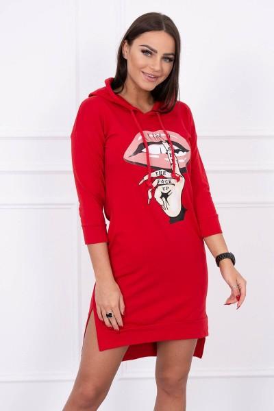 Suknelė su spalvinga aplikacija (Raudona)