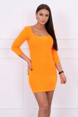 Aptempta suknelė su apvalia iškirpte, 3/4rankovės (Oranžinė) (Neoninė)