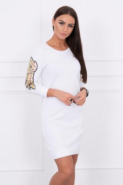 Suknelė su sparnų aplikscijomis ant rankų (Balta)