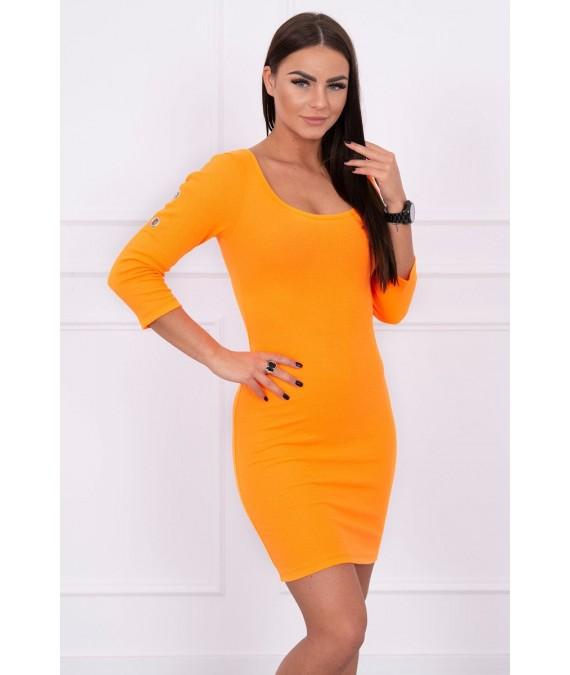 Suknelė su metalinėm sagutėm (Oranžinė) (Neoninė)