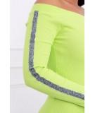 Suknelė su blizgančiomis juostelėmis ant rankų (Žalia)