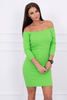 Aptempta suknelė - atvirais pečiais (Žalia)