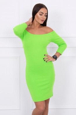 Aptempta suknelė - atvirais pečiais (Žalia) (Neoninė)