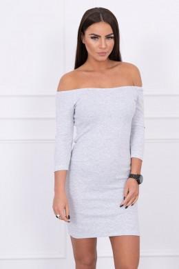 Aptempta suknelė - atvirais pečiais (Šviesi) (Pilka)