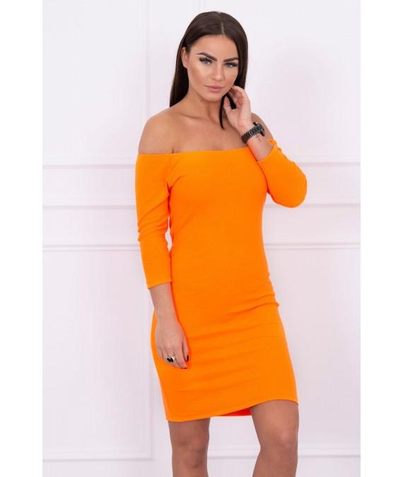 Aptempta suknelė - atvirais pečiais (Oranžinė) (Neoninė)