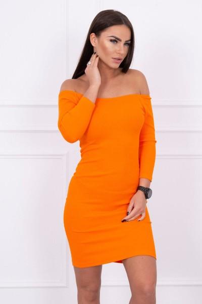 Aptempta suknelė - atvirais pečiais (Oranžinė)