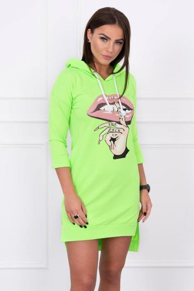 Suknelė su spalvinga aplikacija (Žalia) (Neoninė)