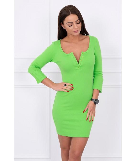 Suknelė su iškirpte ir su sagutėm (Žalia)