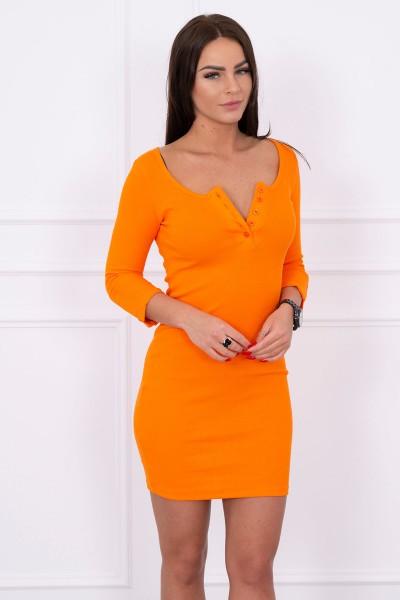 Suknelė su iškirpte ir su sagutėm (Oranžinė)