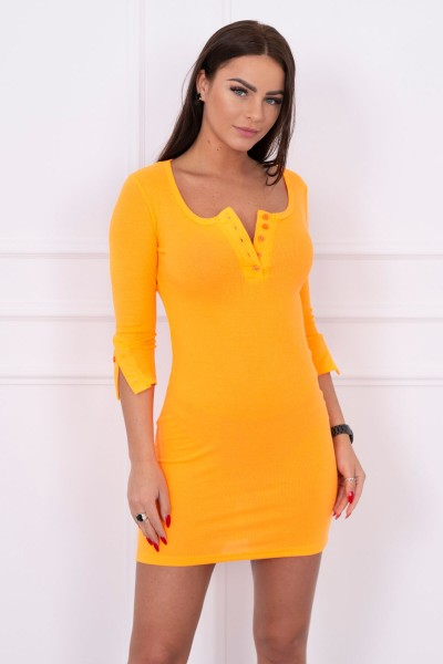 Suknelė su iškirpte ir su sagutėm (Oranžinė) (Neoninė)