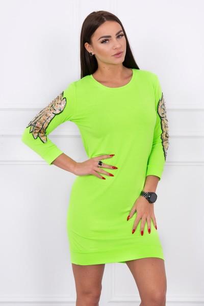 Suknelė su sparnų aplikscijomis ant rankų (Žalia) (Neoninė)