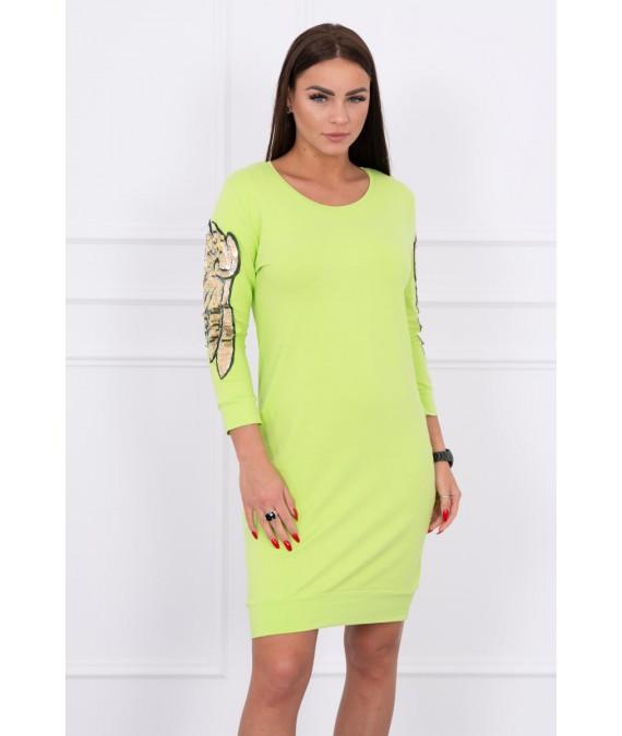 Suknelė su sparnų aplikscijomis ant rankų (Žalia)