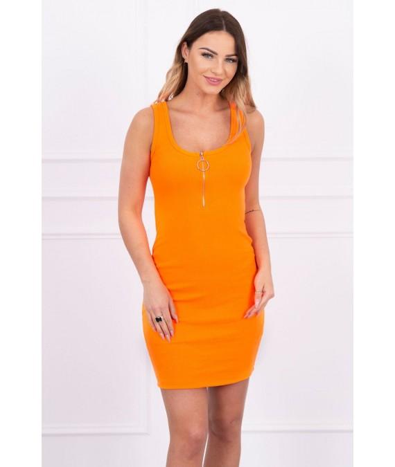 Suknelė su dekoratyviniu užtrauktuku ir pakabuku (Oranžinė) (Neoninė)