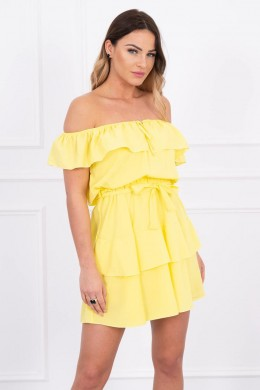 Atvirų pečių suknelė (Geltona)