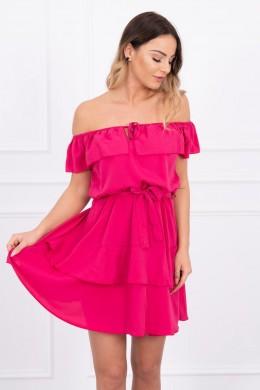 Atvirų pečių suknelė (Fuksijos)