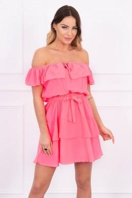 Atvirų pečių suknelė (Rožinė) (Neoninė)