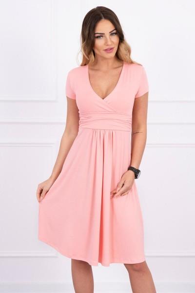 Suknelė su lengvai aptemta zona po krūtine, trumpomis rankovėmis (Lašišos spalvos)