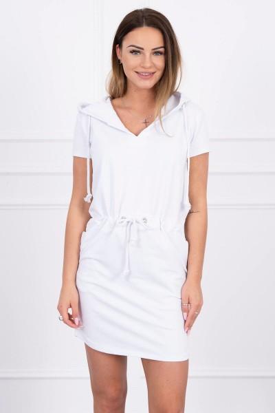 Surišama suknelė su gobtuvu (Balta)