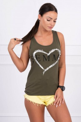 Palaidinė su Femme print (Khaki)