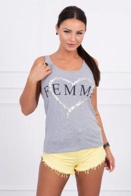 Palaidinė su Femme print (Pilka)