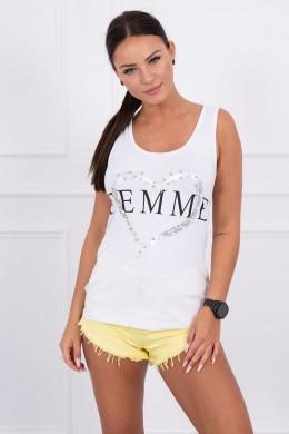 Palaidinė su Femme print (Balta)