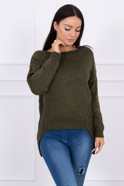 Megztinis su trumpesniu priekiu (Khaki)