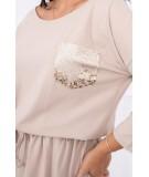 Suknelė su blizgančia kišene (Smėlio spalva)