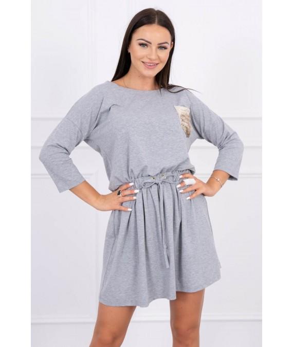 Suknelė su blizgančia kišene (Pilka)