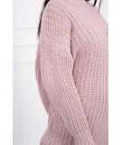 Megztinis su ilga apykakle (Šviesiai) (Rožinė)