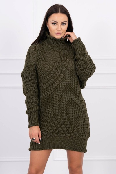 Megztinis su ilga apykakle (Khaki)